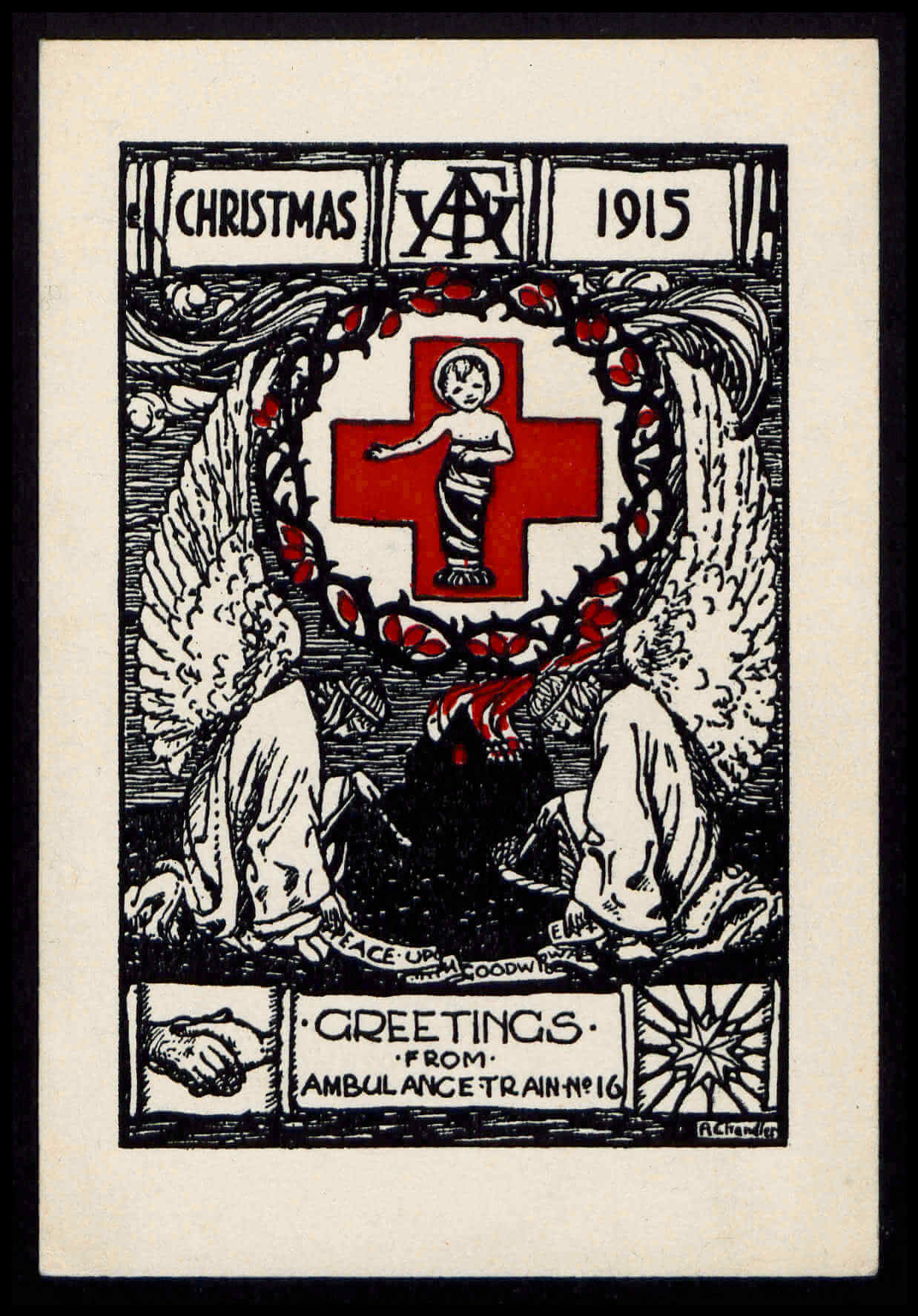 Christmas 1915 / Greetings from Ambulance Train No. 16, 1915 © 	Special Collections, University of Leeds. Further reproduction prohibited without permission.