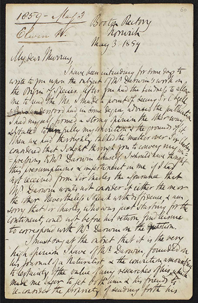 Letter from Reverend Whitwell Elwin to John Murray III © The National Library of Scotland. Further reproduction prohibited without permission.