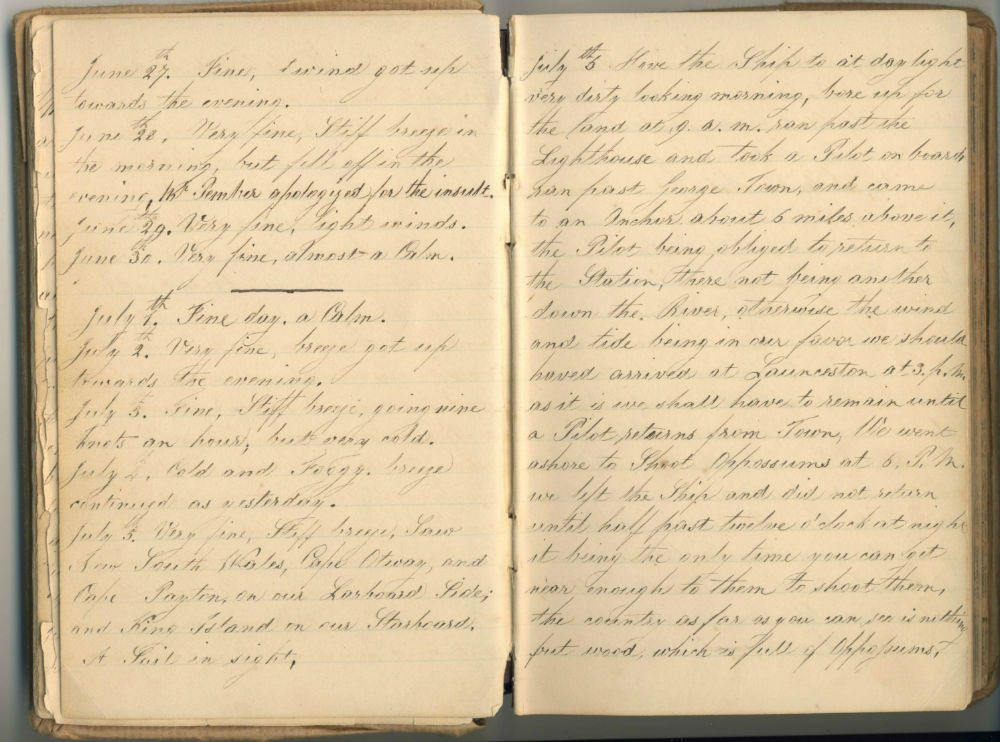 Dr J. Hanchett Journal, Ship Henry, March 12th 1838