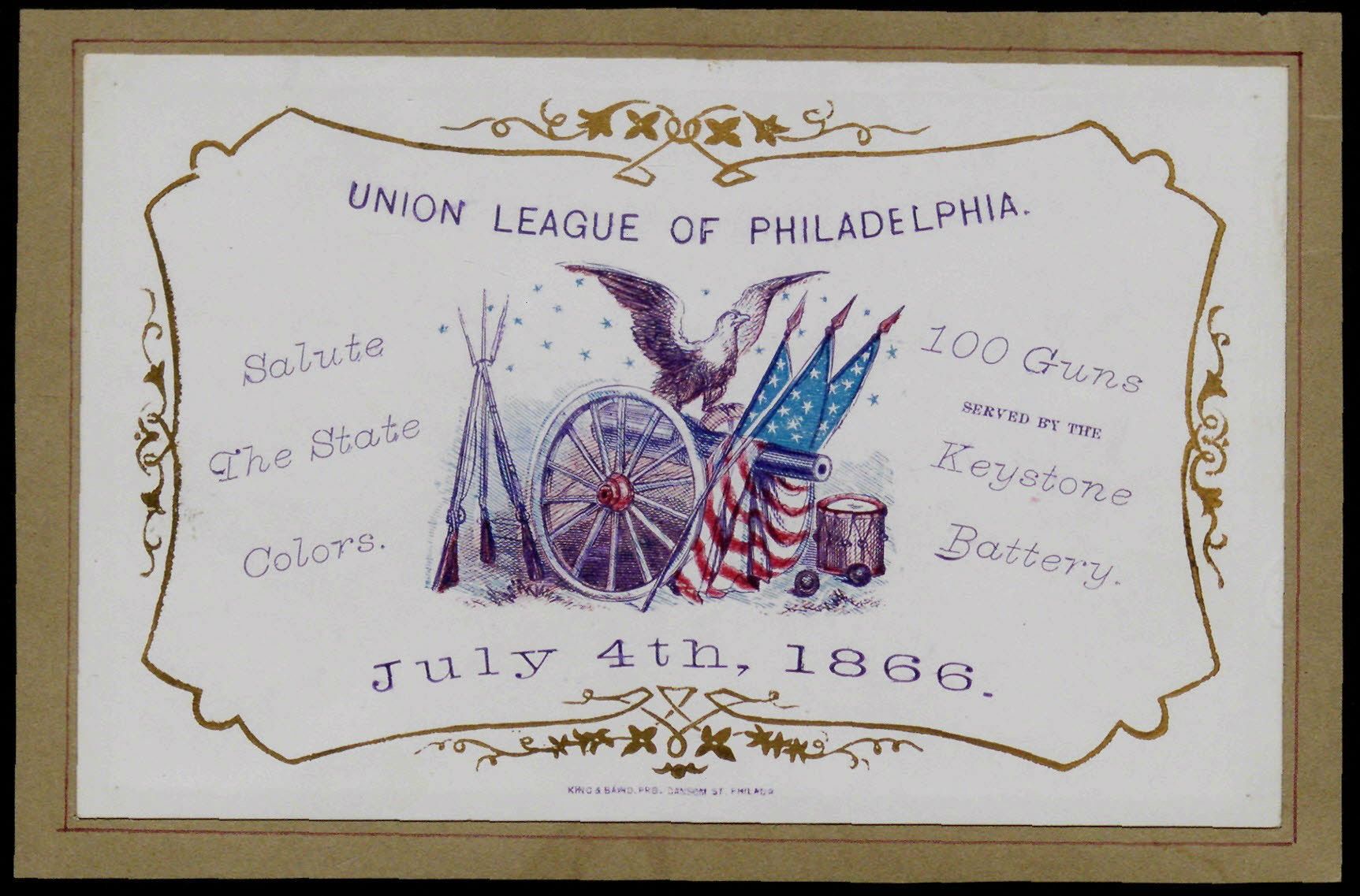 Commemoration card of the Union League of Philadelphia, including information regarding a 4 July celebration