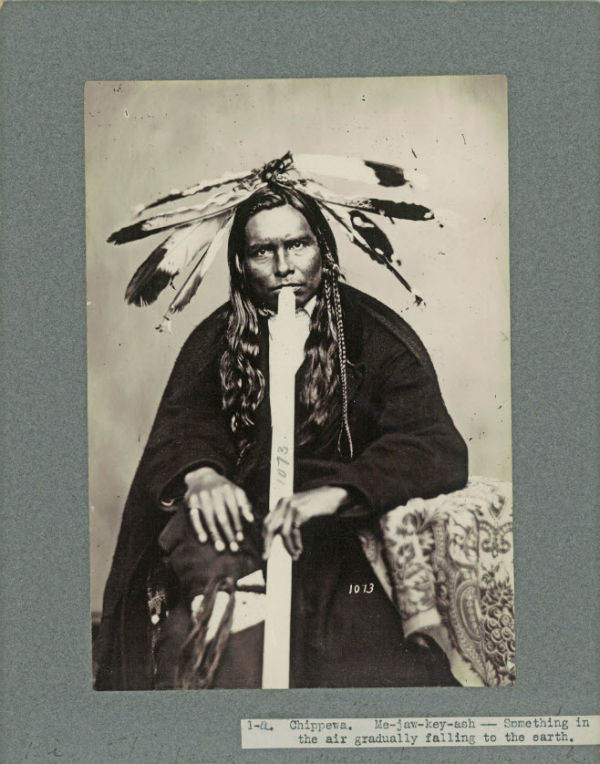 Studio portrait of Chippewa Indian Something In The Air Gradually Falling to Earth