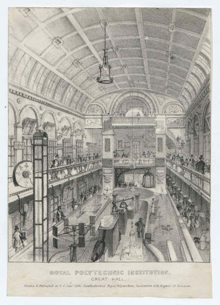 The Great Hall of the Royal Polytechnic Institution. Image © The National Fairground Archive, University of Sheffield. Further reproduction prohibited without permission